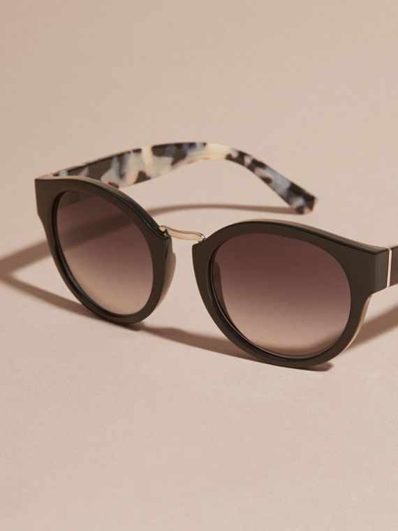 Check and Camouflage Detail Round Frame Sunglasses in Black - Women | Burberry - cell image 2