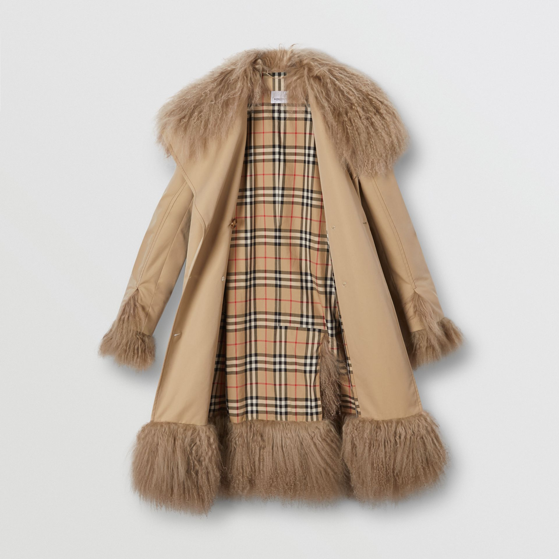 Shearling Trim Cotton Gabardine Belted Trench Coat in Honey - Women | Burberry - gallery image 6
