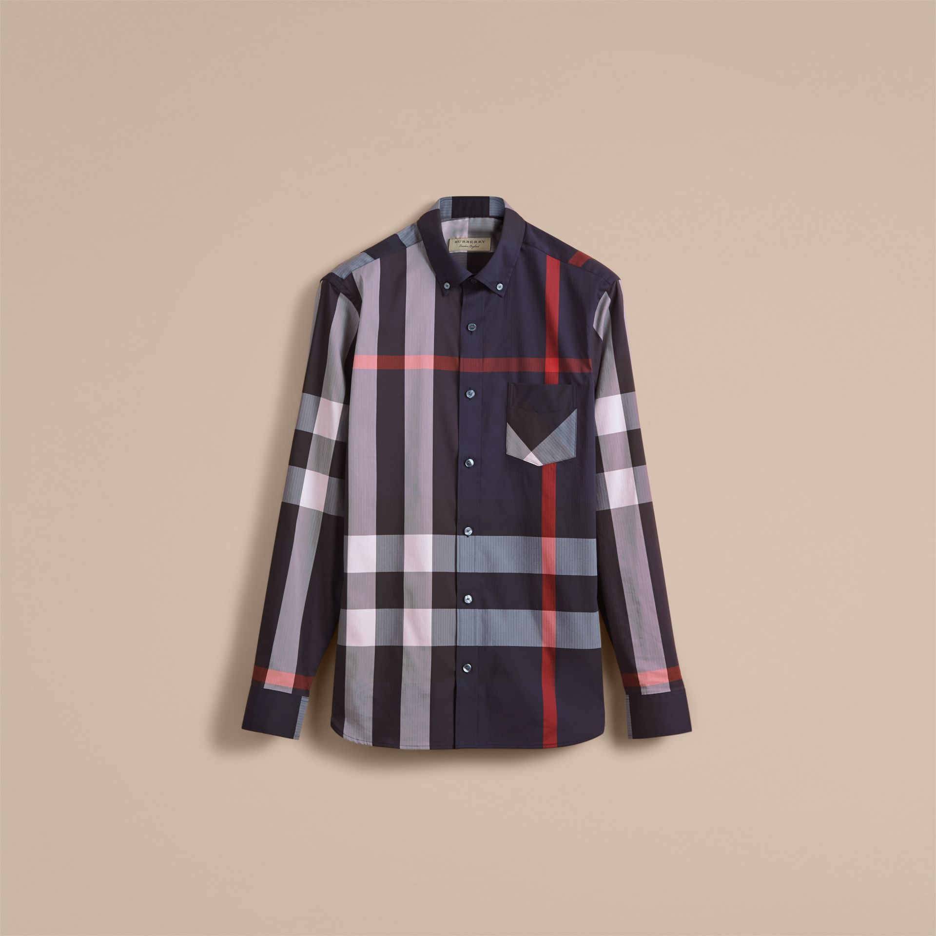 Button-down Collar Check Stretch Cotton Blend Shirt in Navy - Men | Burberry Australia - gallery image 3