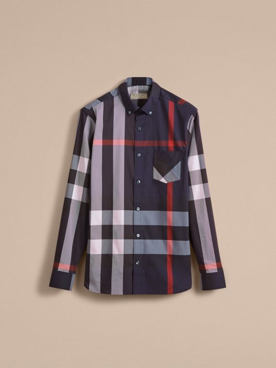 Button-down Collar Check Stretch Cotton Blend Shirt in Navy