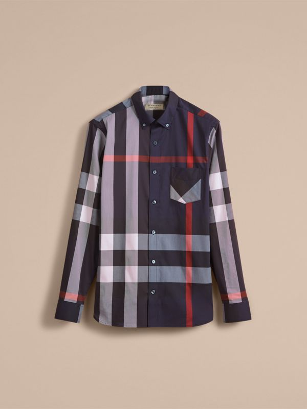 Button-down Collar Check Stretch Cotton Blend Shirt in Navy - Men | Burberry - cell image 3