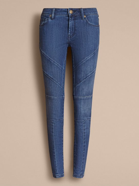 Skinny Fit Seam Detail Stretch Japanese Denim Jeans in Indigo - Women | Burberry - cell image 3