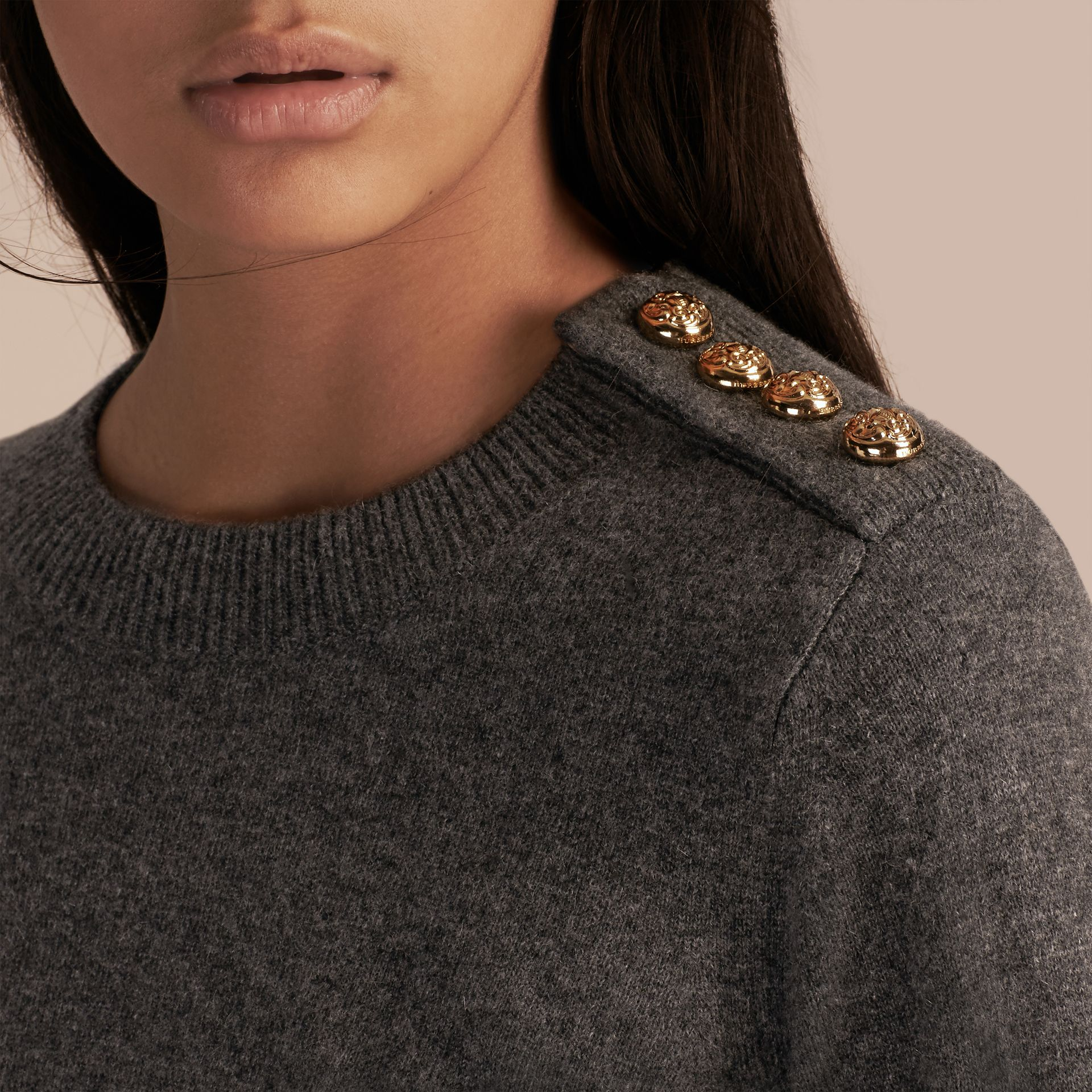 Dark grey melange Cashmere Sweater with Crested Buttons Dark Grey Melange - gallery image 5