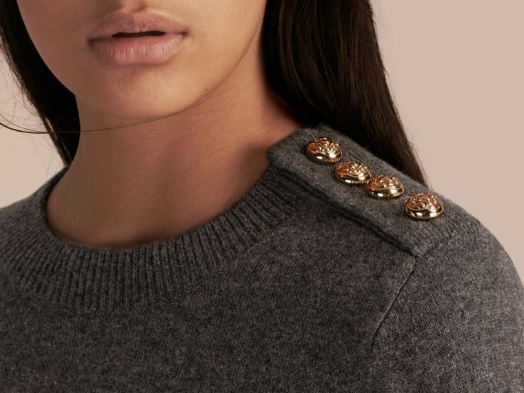 Dark grey melange Cashmere Sweater with Crested Buttons Dark Grey Melange - cell image 4