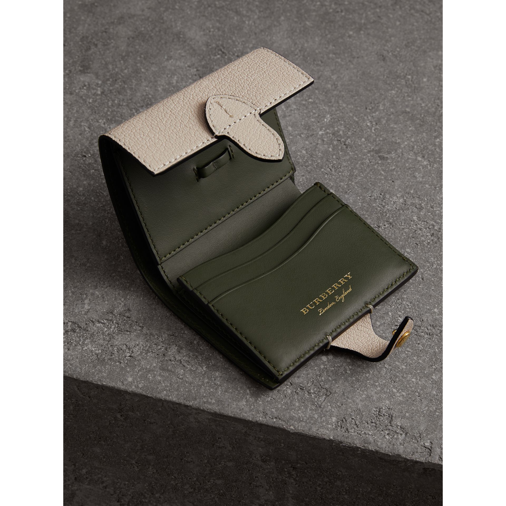 Equestrian Shield Two-tone Leather Folding Wallet in Stone - Women | Burberry United States - gallery image 3