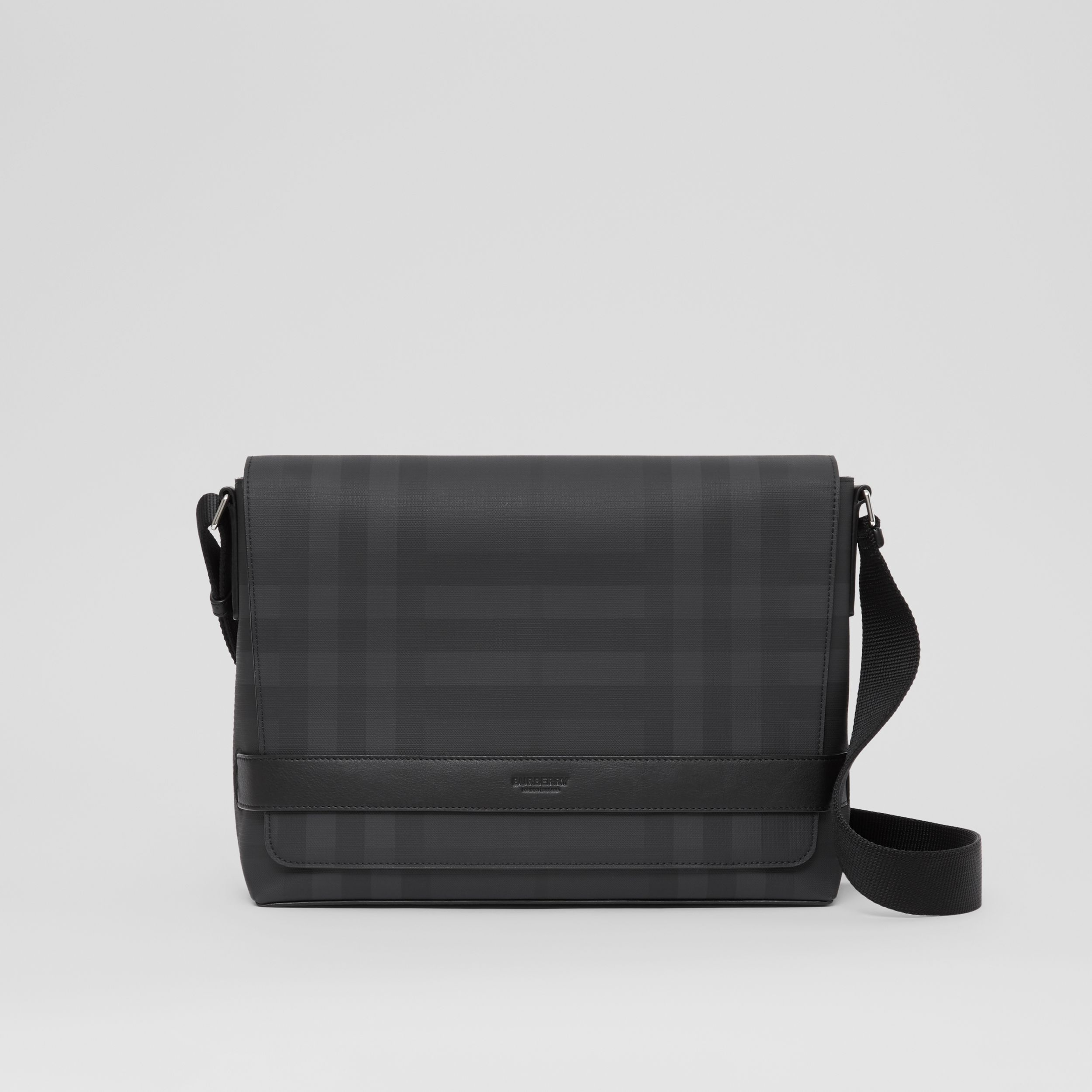 London Check and Leather Messenger Bag in Dark Charcoal - Men | Burberry - 1