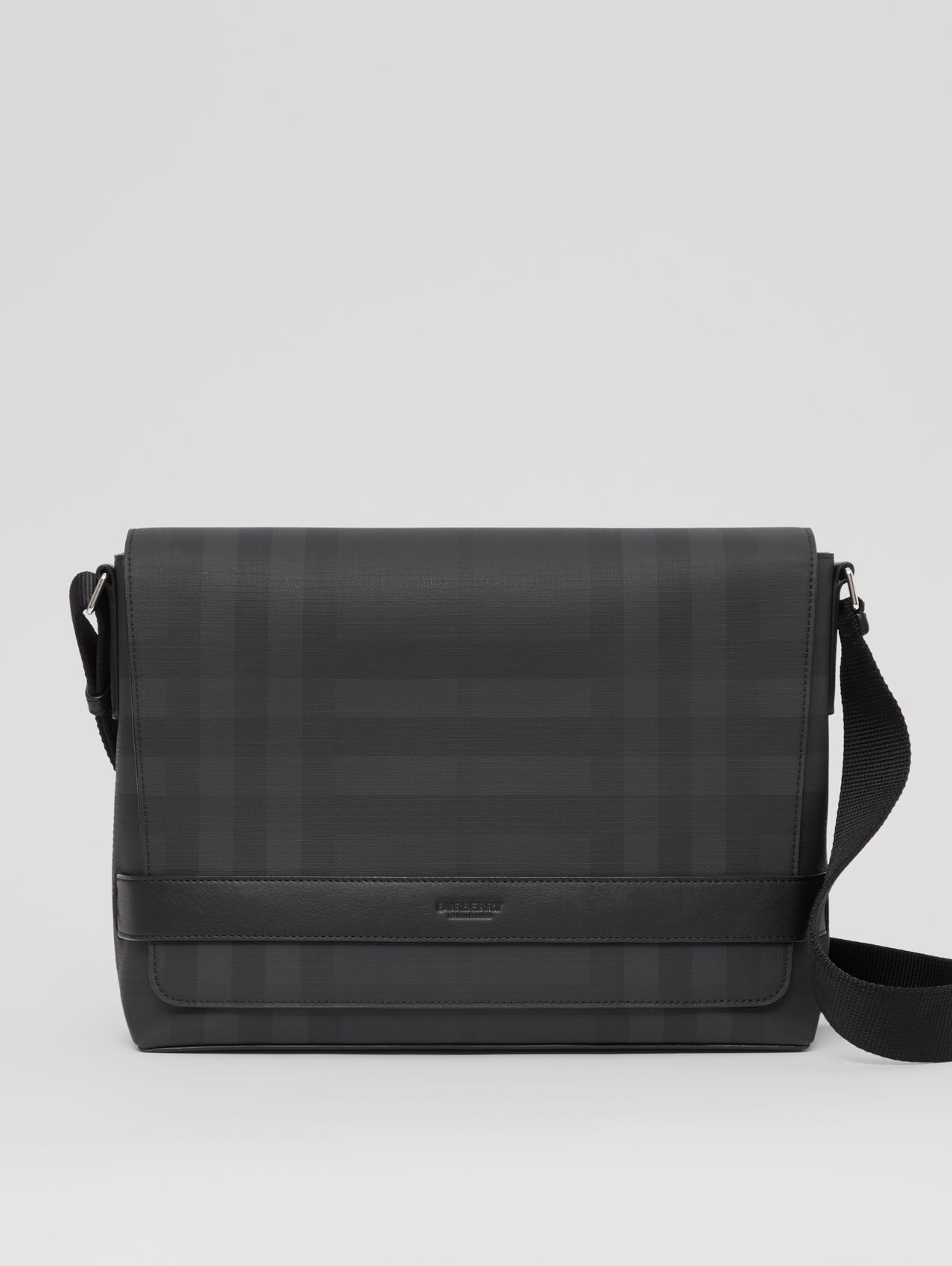 London Check and Leather Messenger Bag (Dark Charcoal)