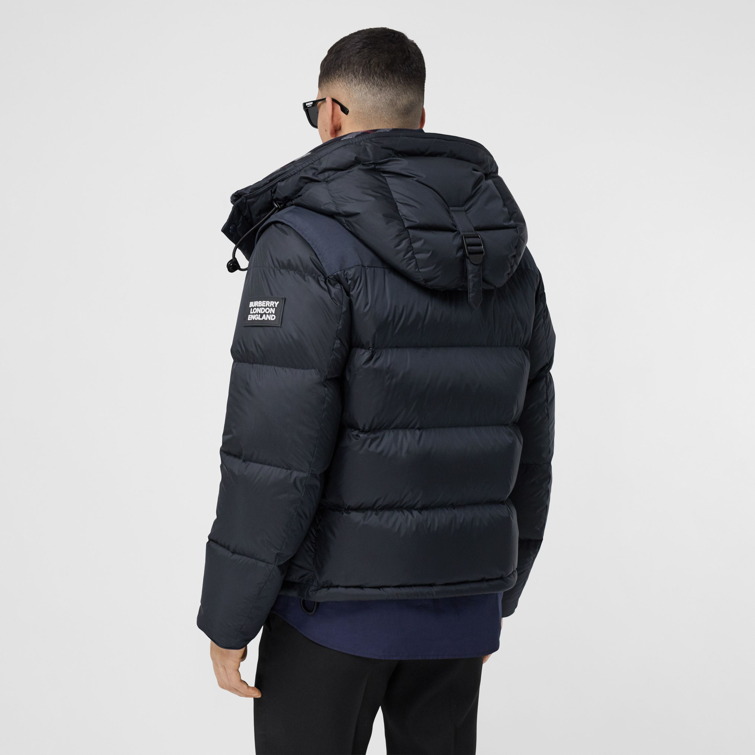 Detachable Sleeve Hooded Puffer Jacket in Navy - Men | Burberry - 2