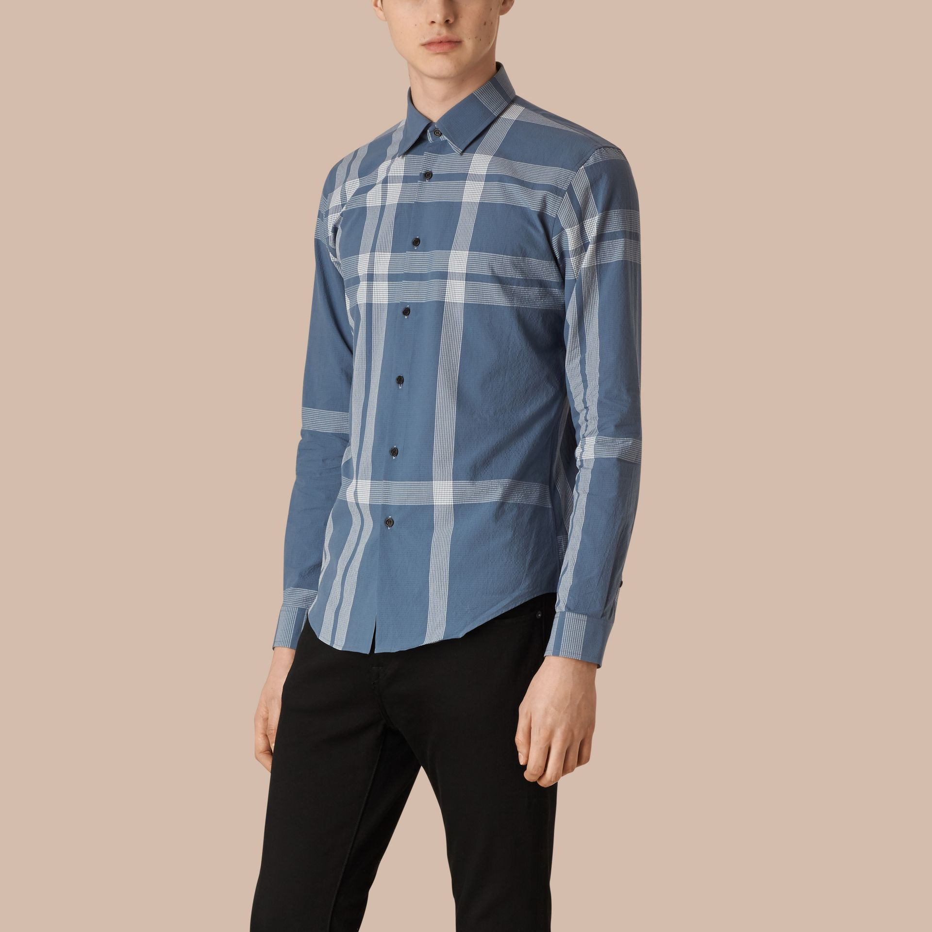 Lupine blue Textured Check Cotton Shirt Lupine Blue - gallery image 1
