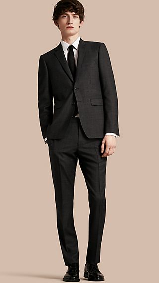Slim Fit Melange Wool Half-canvas Suit