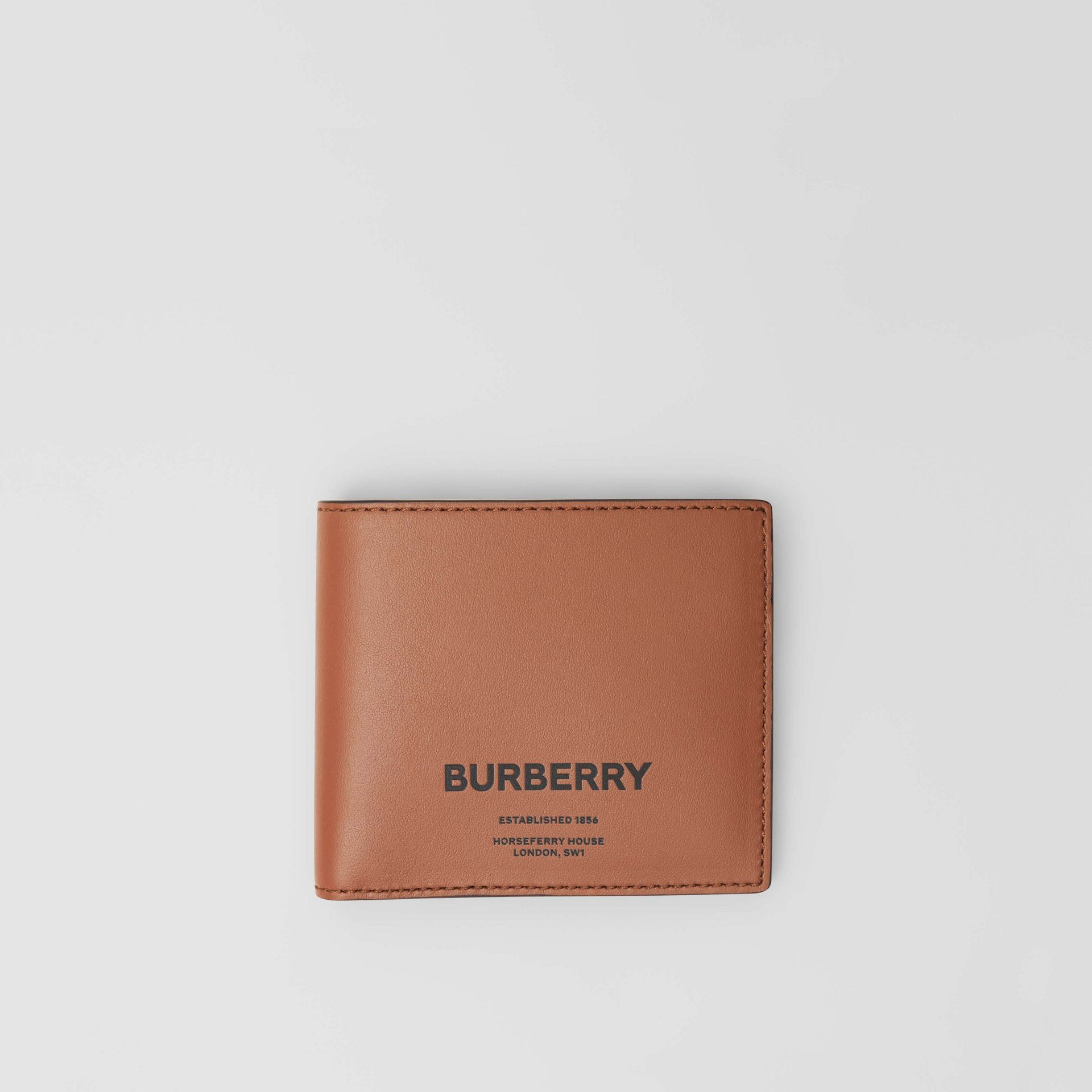 Horseferry Print Leather International Bifold Wallet in Malt Brown - Men | Burberry - gallery image 0