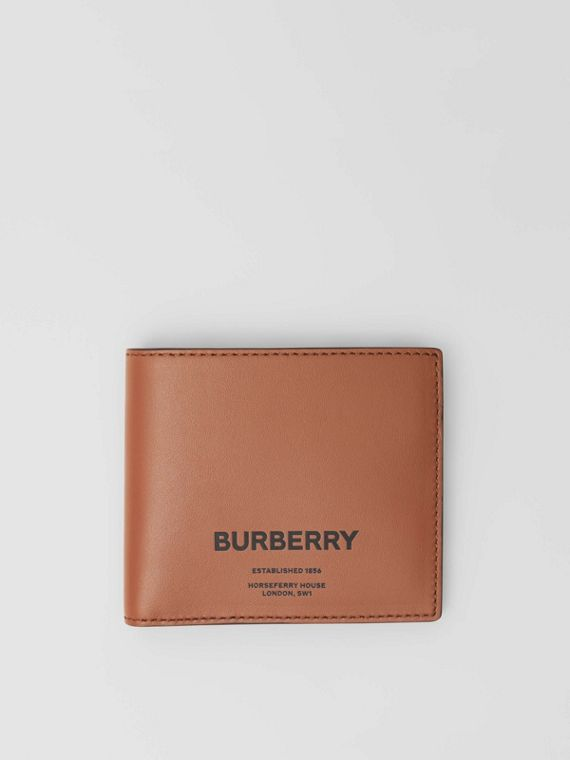 Horseferry Print Leather International Bifold Wallet in Malt Brown