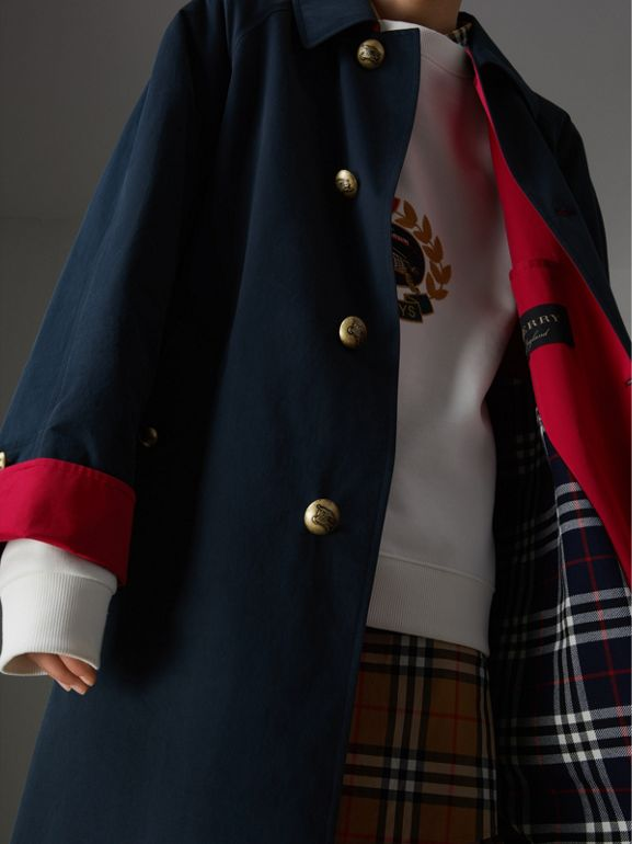 Reissued Waxed Cotton Gabardine Car Coat in Navy - Women | Burberry Singapore - cell image 1