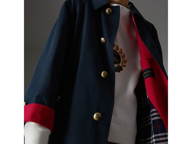 Cappotto car coat riproposto in gabardine di cotone cerato (Navy) - Donna | Burberry - cell image 1