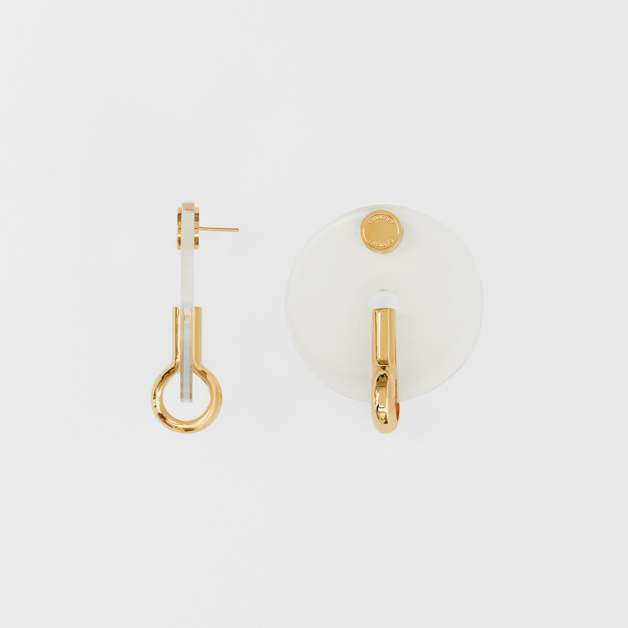 Resin and Gold-plated Disc Earrings in Light Gold/crystal - Women | Burberry - 4