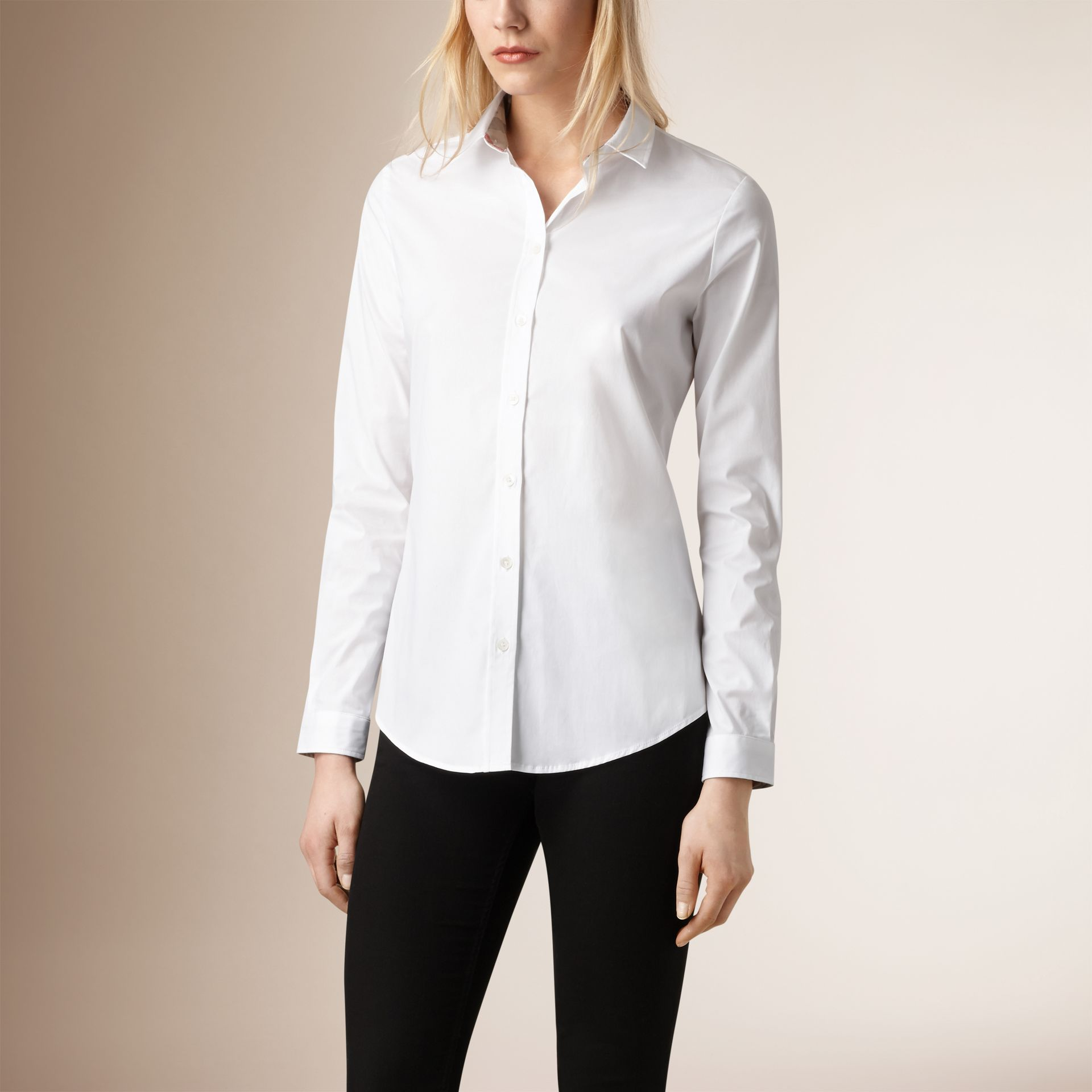 Check Cuff Stretch Cotton Shirt in White - Women | Burberry - gallery image 0