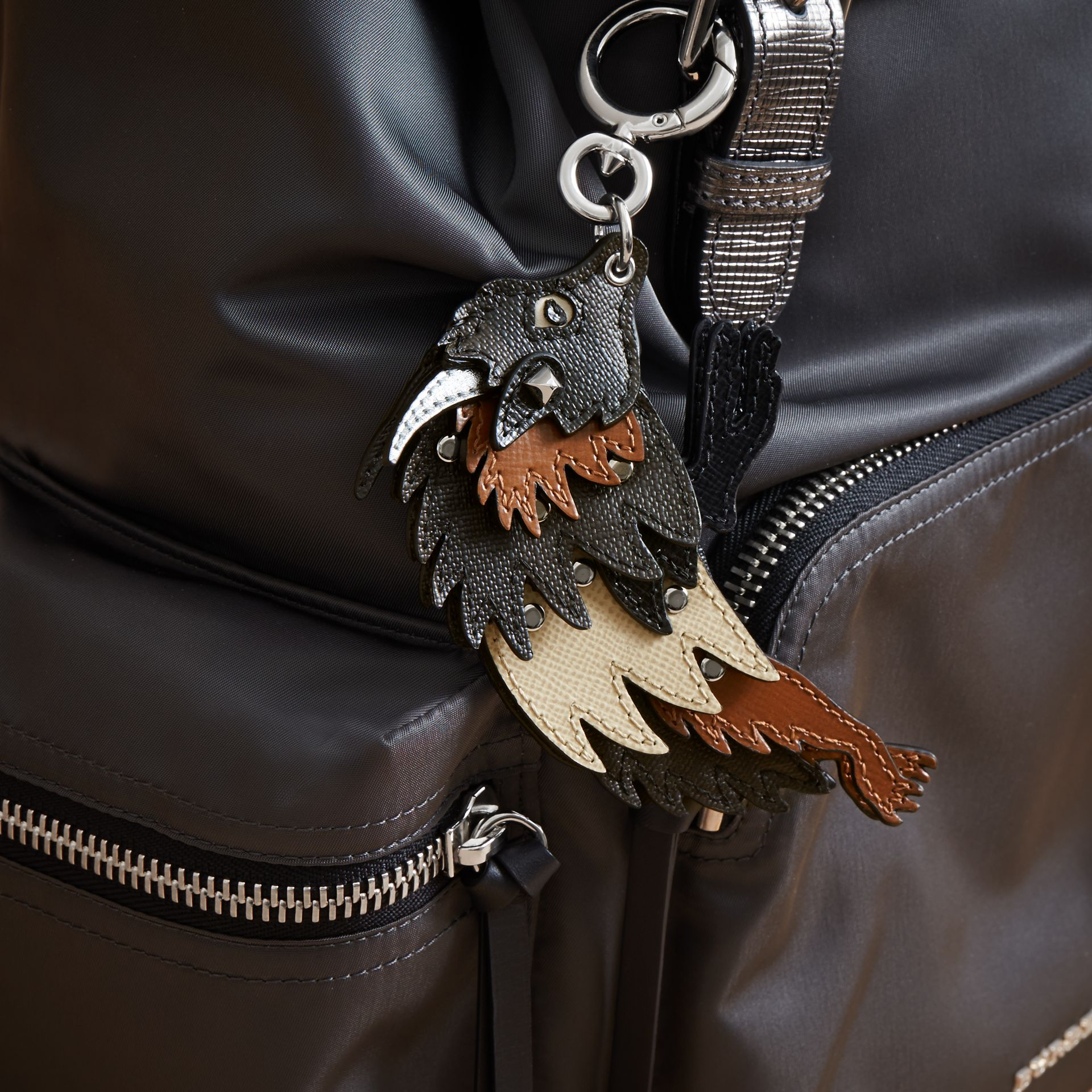 Beasts Leather Key Ring in Chocolate/black - Men | Burberry - gallery image 3