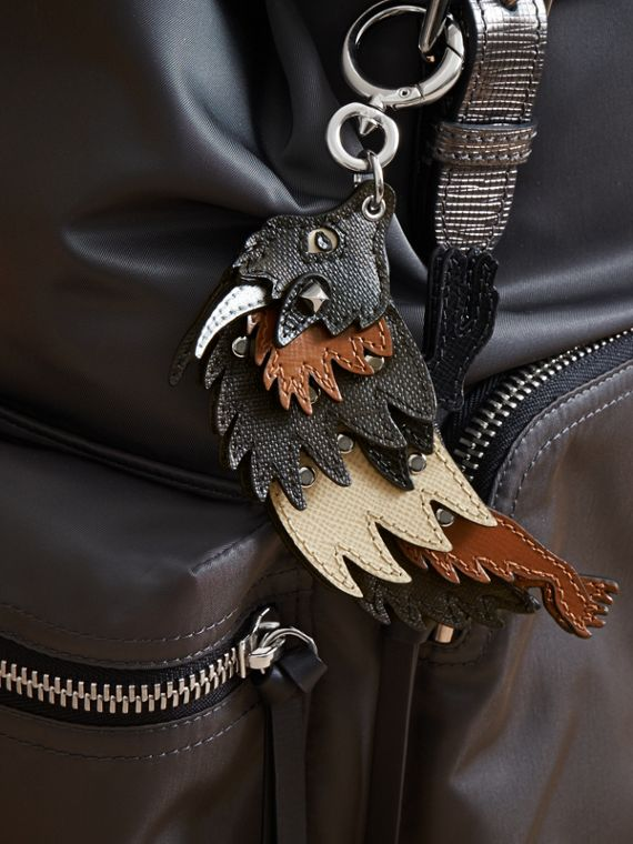 Beasts Leather Key Ring in Chocolate/black - Men | Burberry - cell image 2