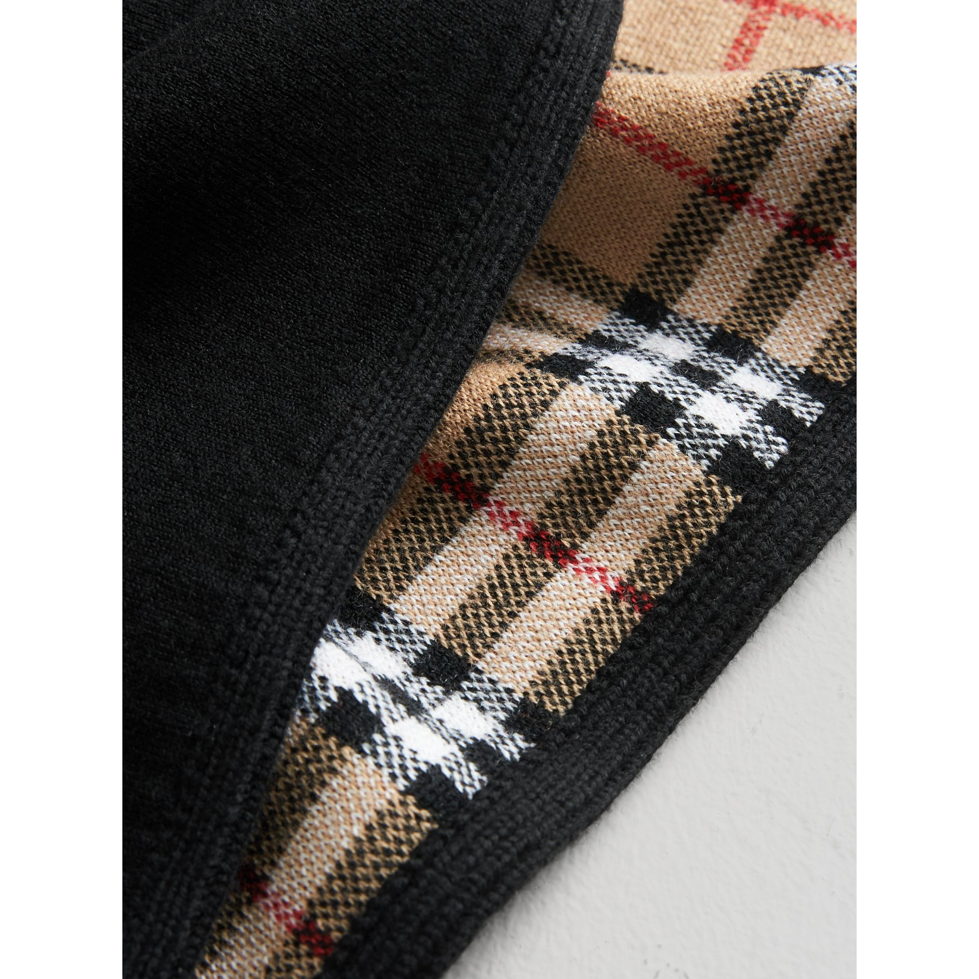 Reversible Vintage Check Merino Wool Jacquard Poncho in Black - Girl | Burberry Australia - gallery image 1