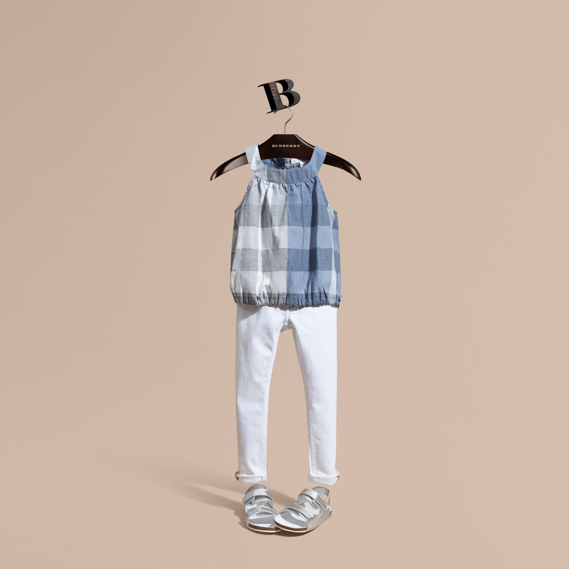 Gathered Check Cotton Top in Canvas Blue | Burberry - gallery image 1