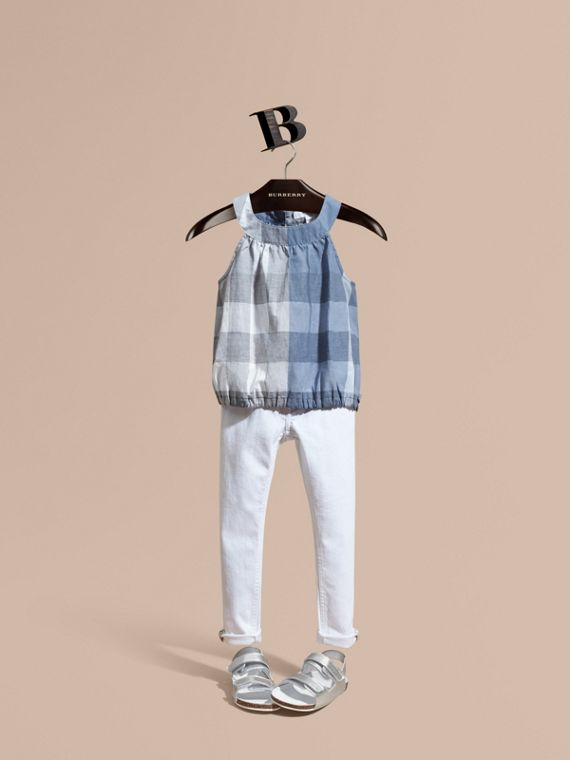 Gathered Check Cotton Top in Canvas Blue - Girl | Burberry