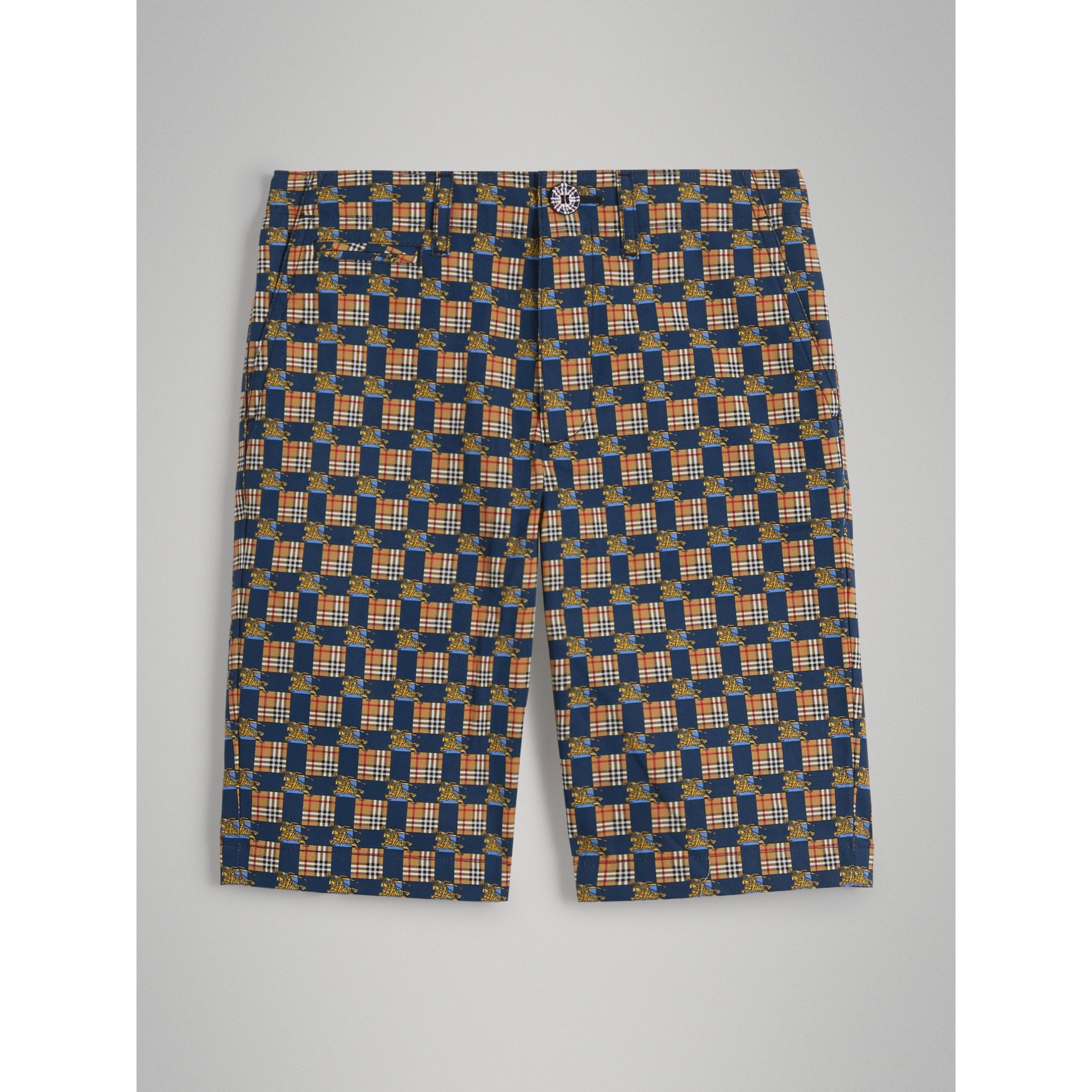 Tiled Archive Print Cotton Shorts in Navy - Boy | Burberry - gallery image 0