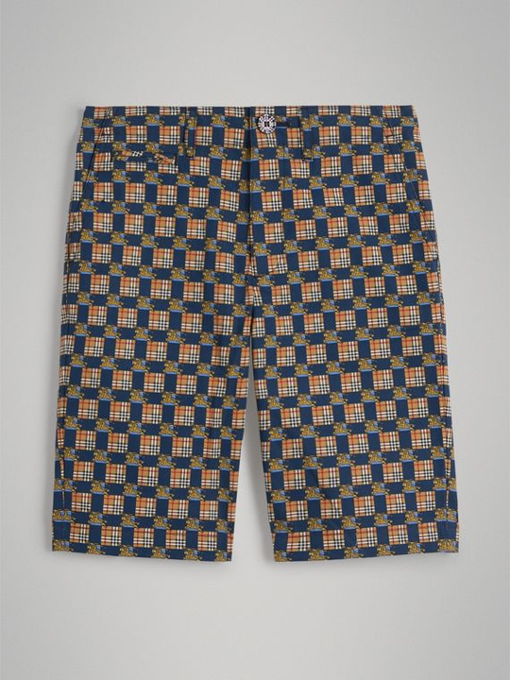 Tiled Archive Print Cotton Shorts in Navy