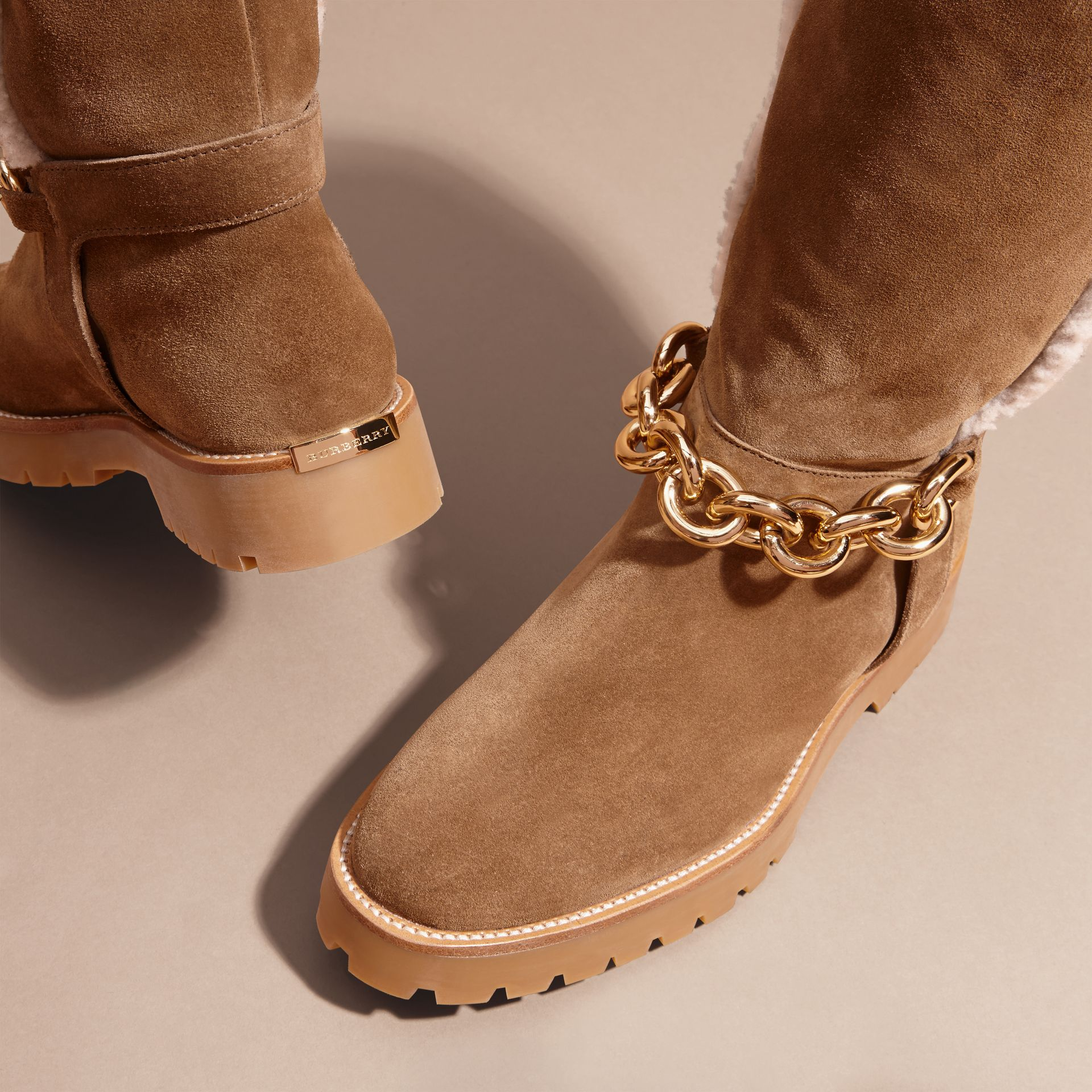 Light oak brown Chain Detail Shearling and Suede Boots - gallery image 2