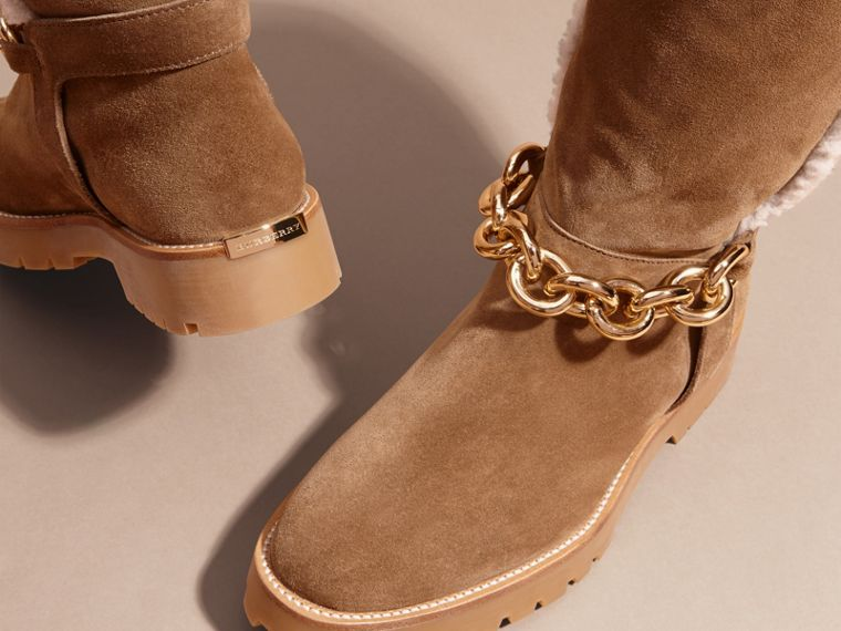 Light oak brown Chain Detail Shearling and Suede Boots - cell image 1
