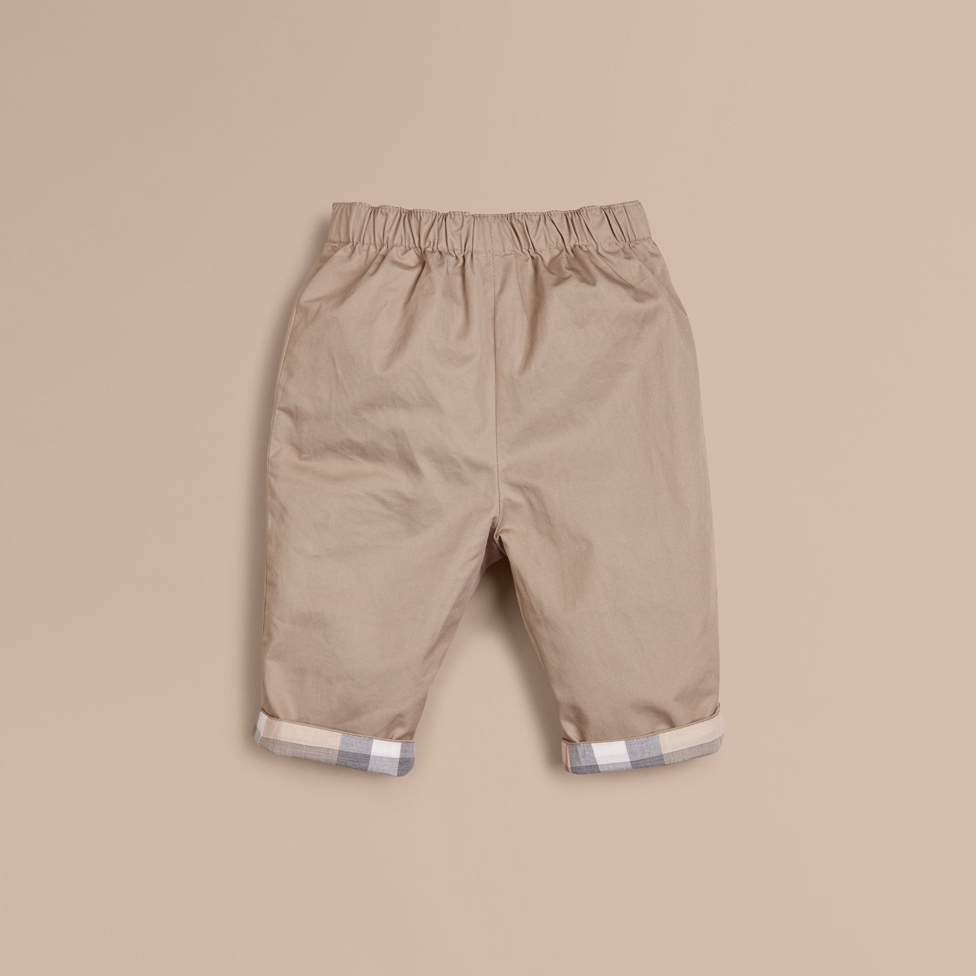 Check Turn-Up Cotton Trousers Taupe - gallery image 1