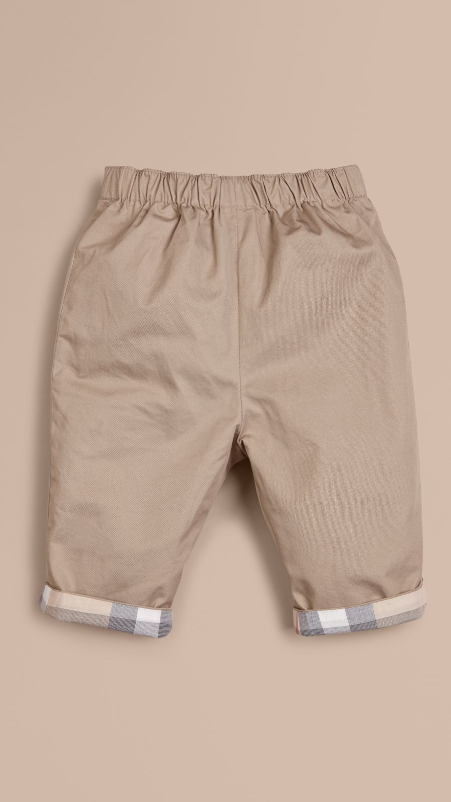 Taupe Check Turn-Up Cotton Trousers Taupe - Image 1