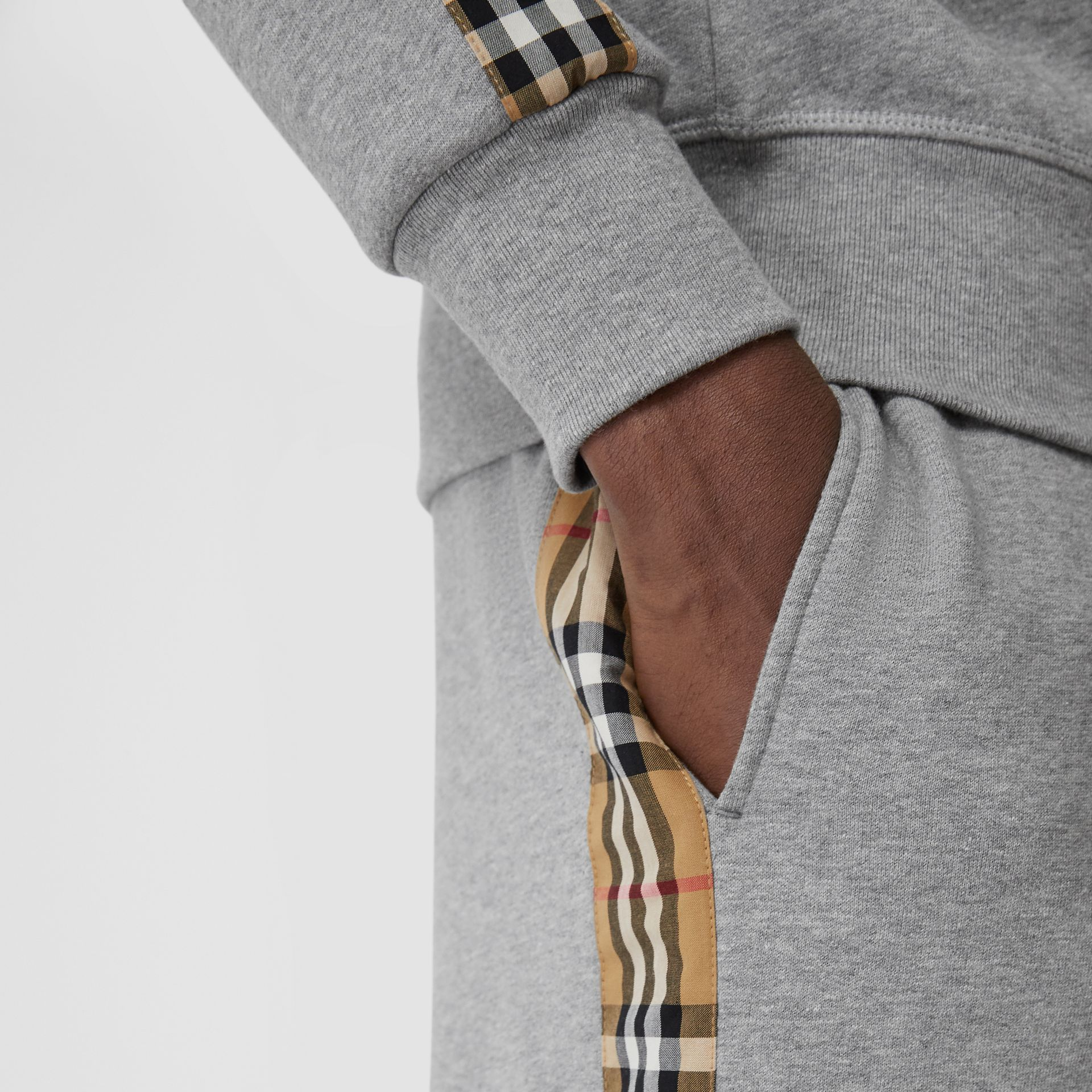 Vintage Check Panel Jersey Trackpants in Pale Grey Melange - Men | Burberry - gallery image 1