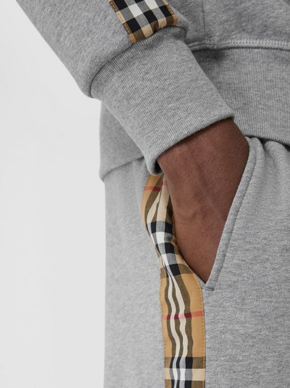 Vintage Check Panel Jersey Trackpants in Pale Grey Melange - Men | Burberry Singapore - cell image 1