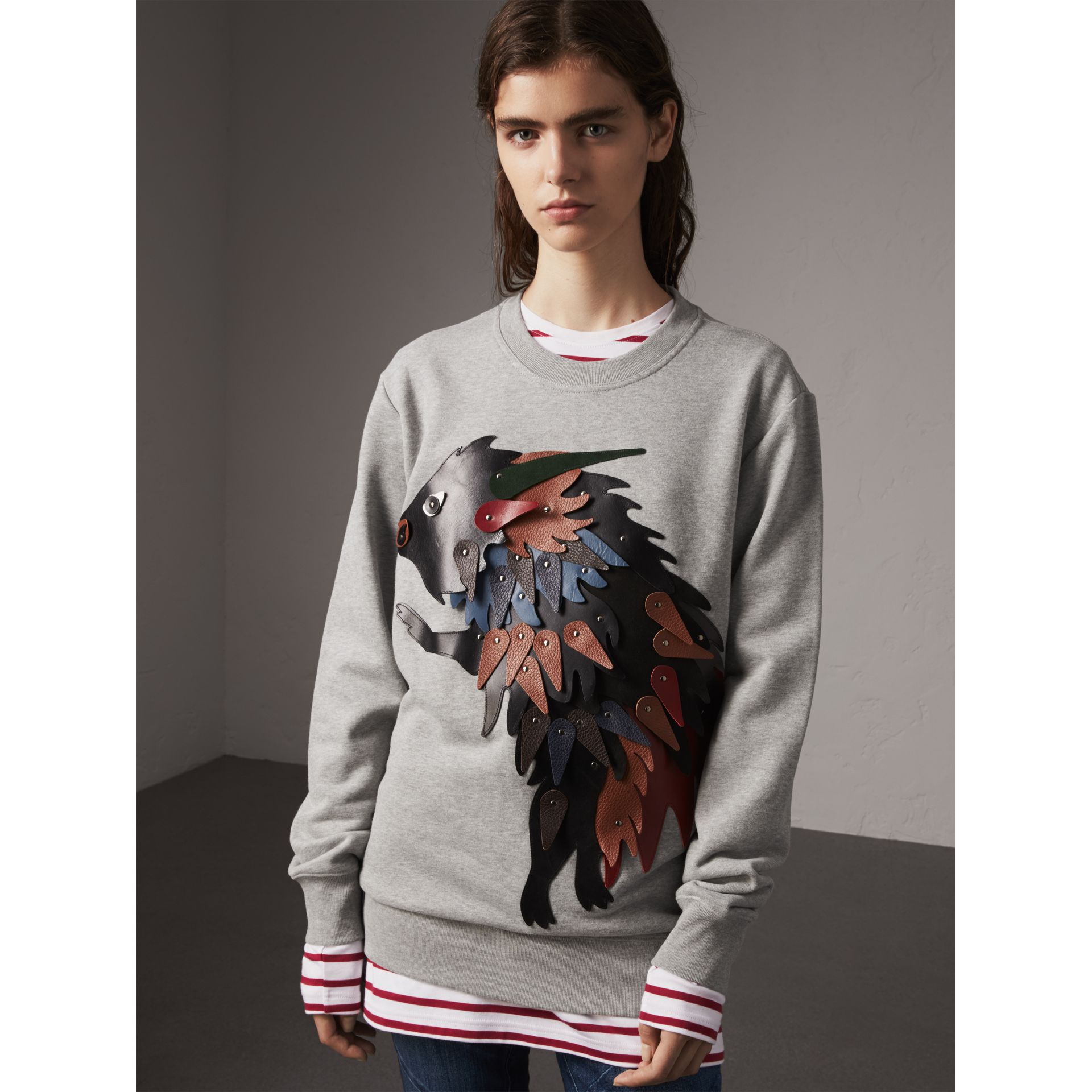 Unisex Beasts Leather Appliqué Cotton Sweatshirt in Pale Grey Melange - Women | Burberry - gallery image 6