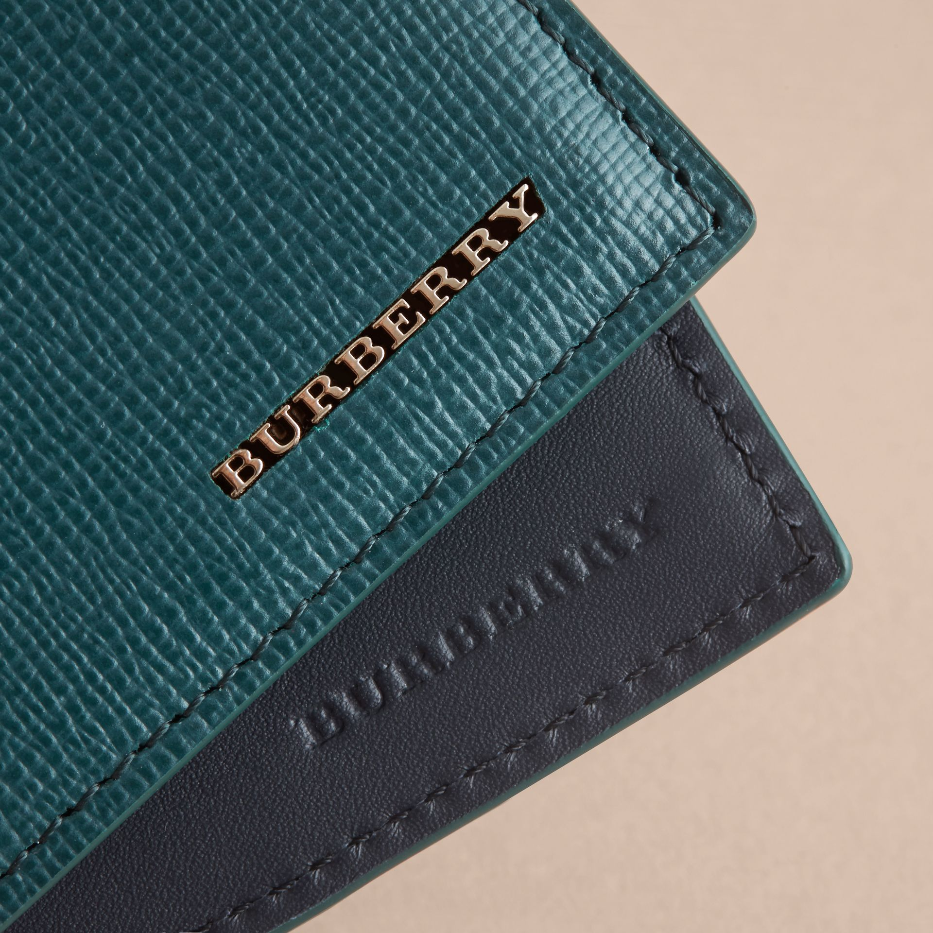 London Leather Bifold Wallet in Dark Teal | Burberry United Kingdom - gallery image 2