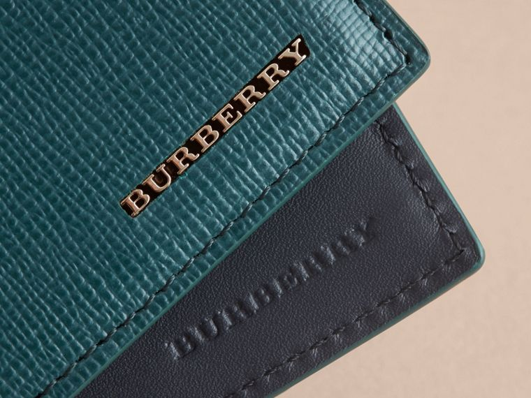 London Leather Bifold Wallet in Dark Teal | Burberry United States - cell image 1