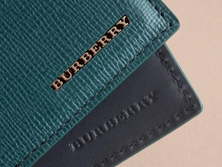 London Leather Slim Folding Wallet Dark Teal - cell image 1