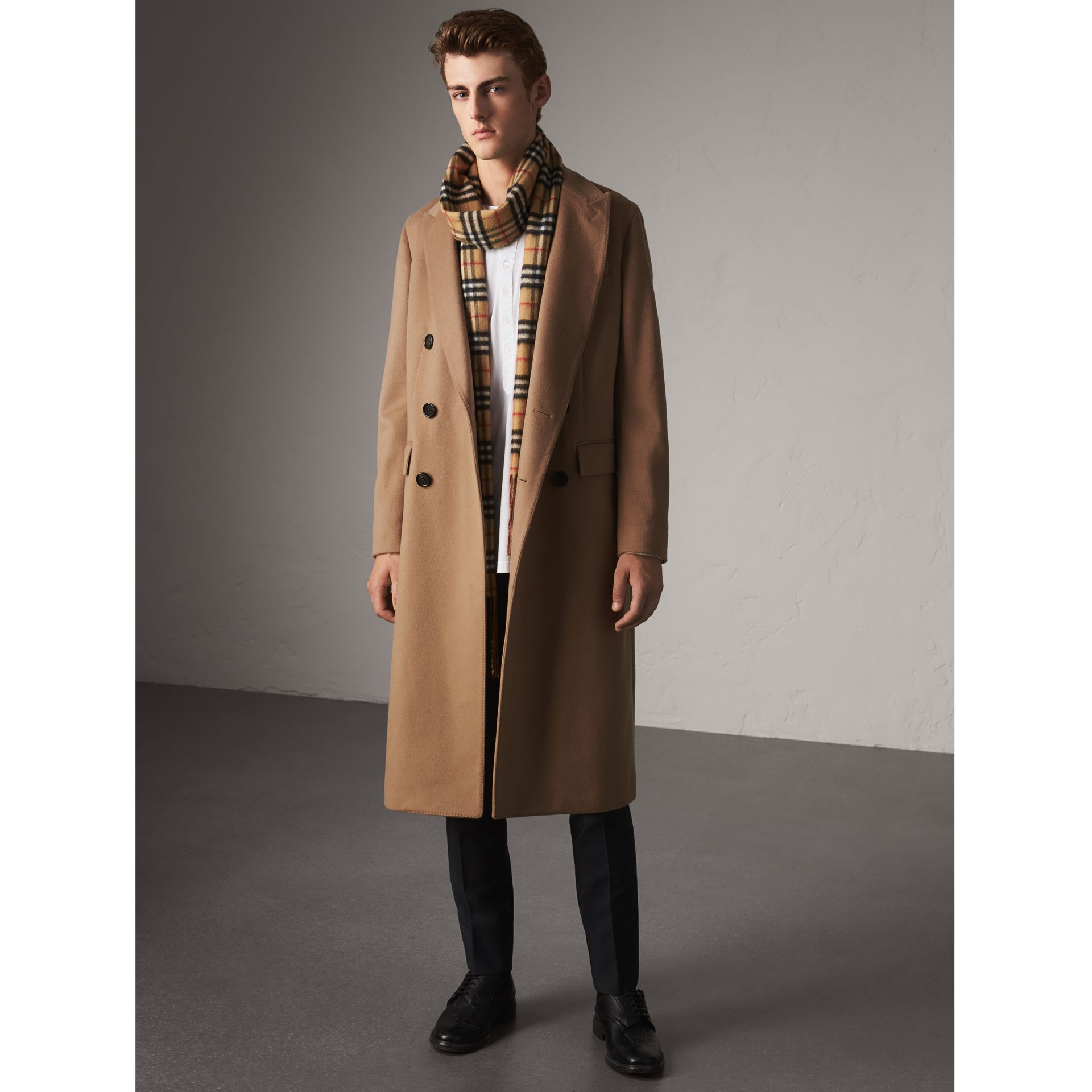 Double-breasted Extra Long Wool Cashmere Coat in Camel - Men | Burberry Singapore - gallery image 1