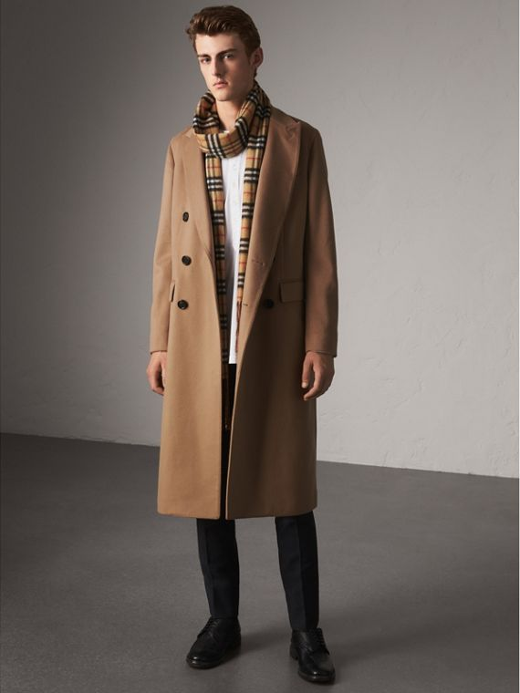 Double-breasted Extra Long Wool Cashmere Coat in Camel