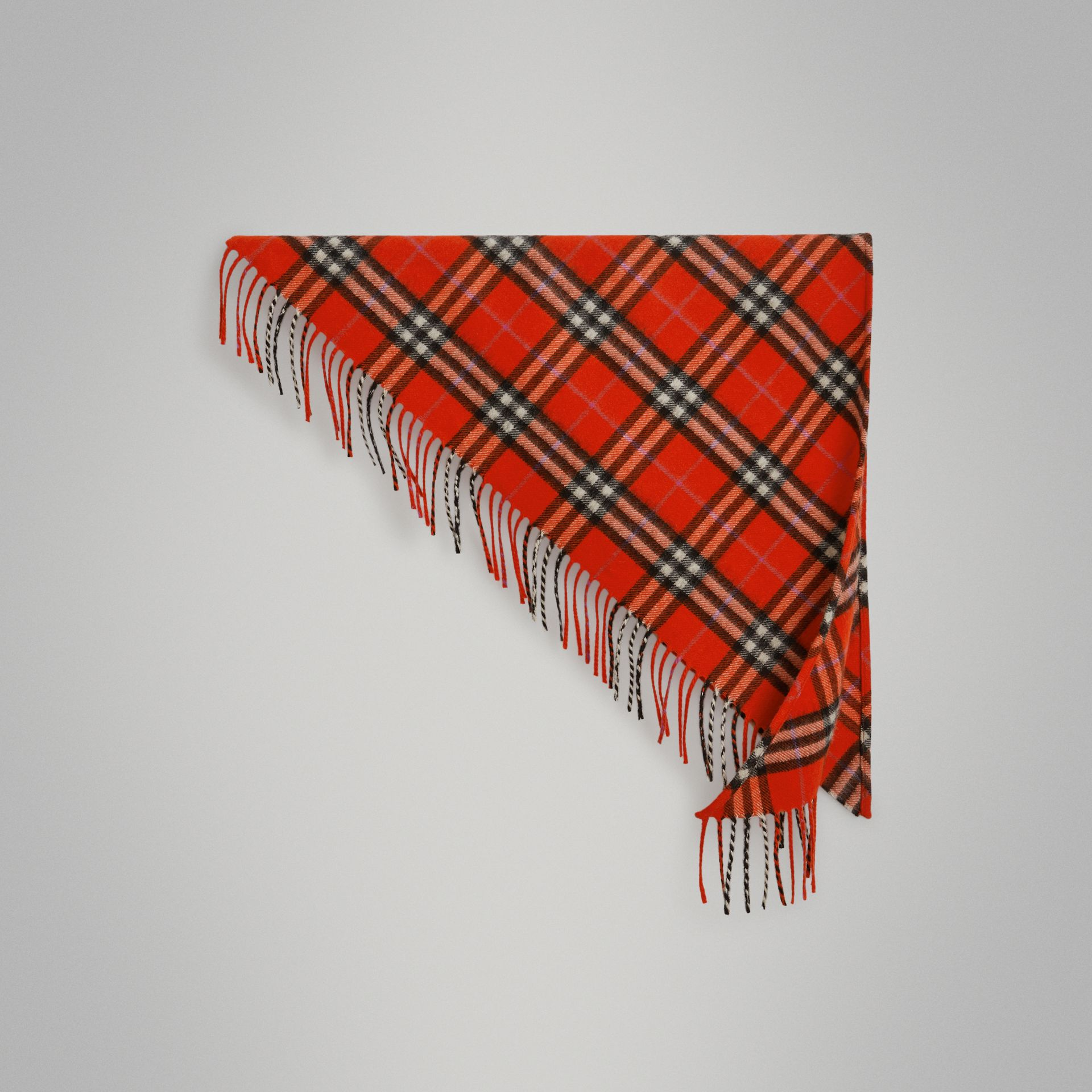 The Mini Burberry Bandana in Check Cashmere in Bright Red | Burberry - gallery image 0