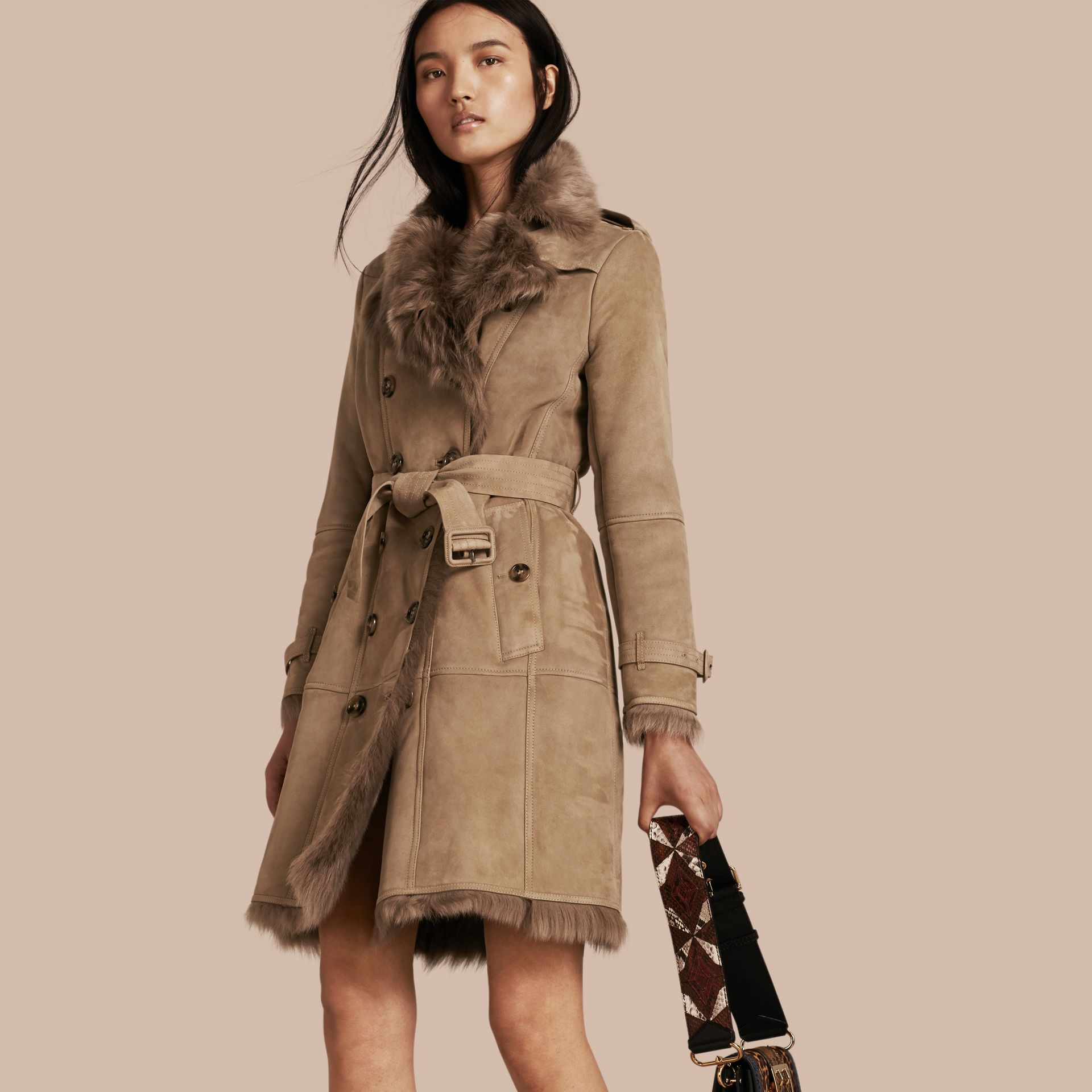 Camel Shearling Trench Coat Camel - gallery image 1