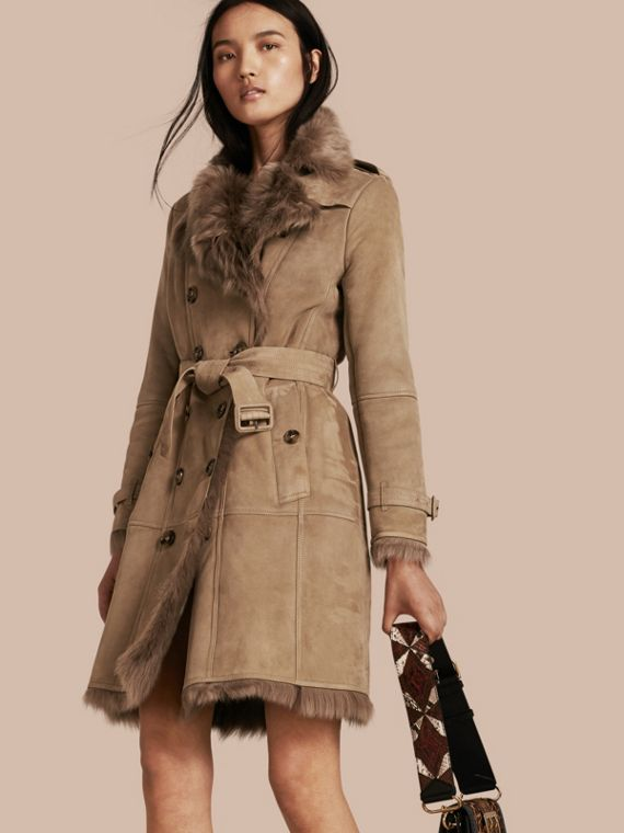 Shearling Trench Coat Camel
