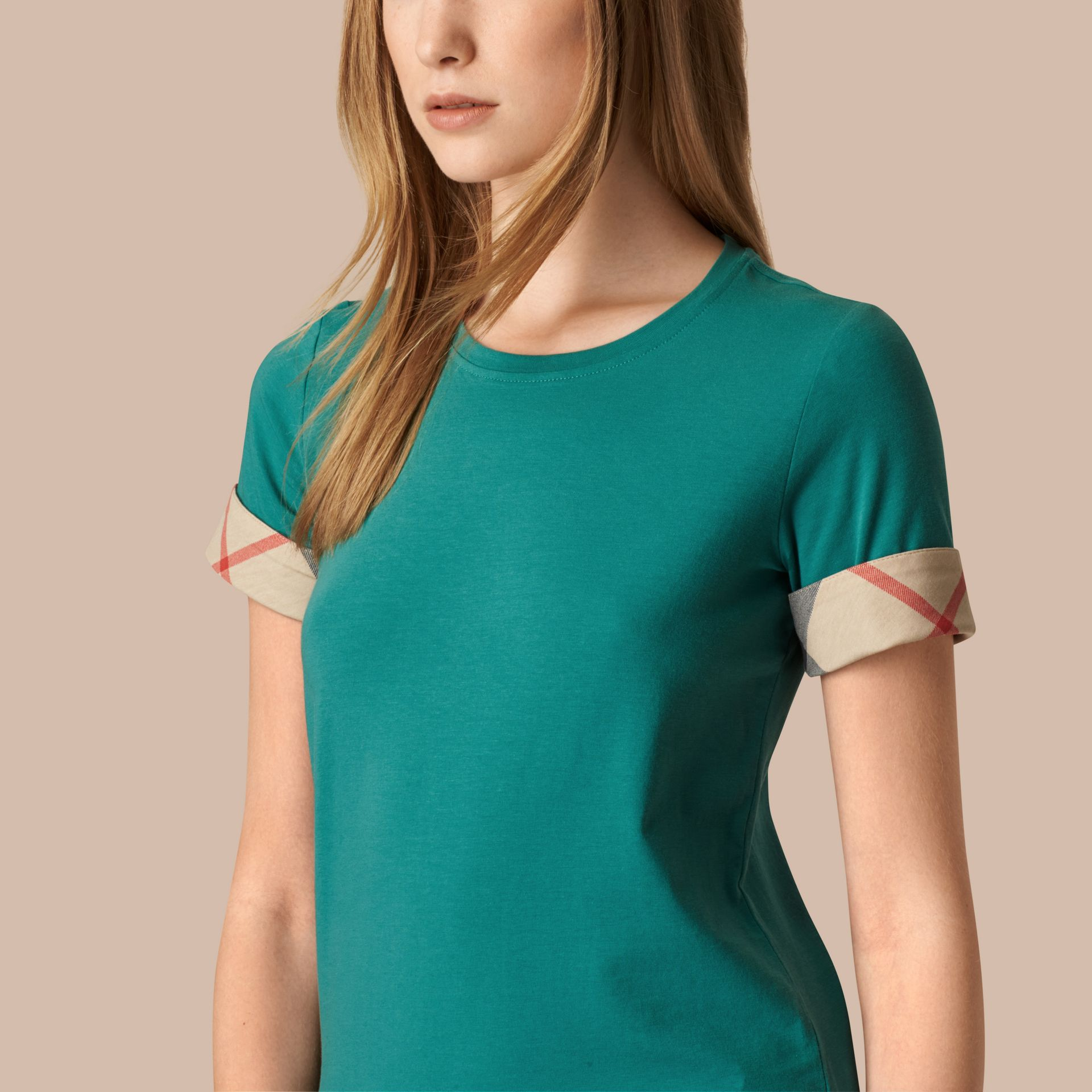 Aqua green Check Cuff Stretch Cotton T-Shirt Aqua Green - gallery image 3