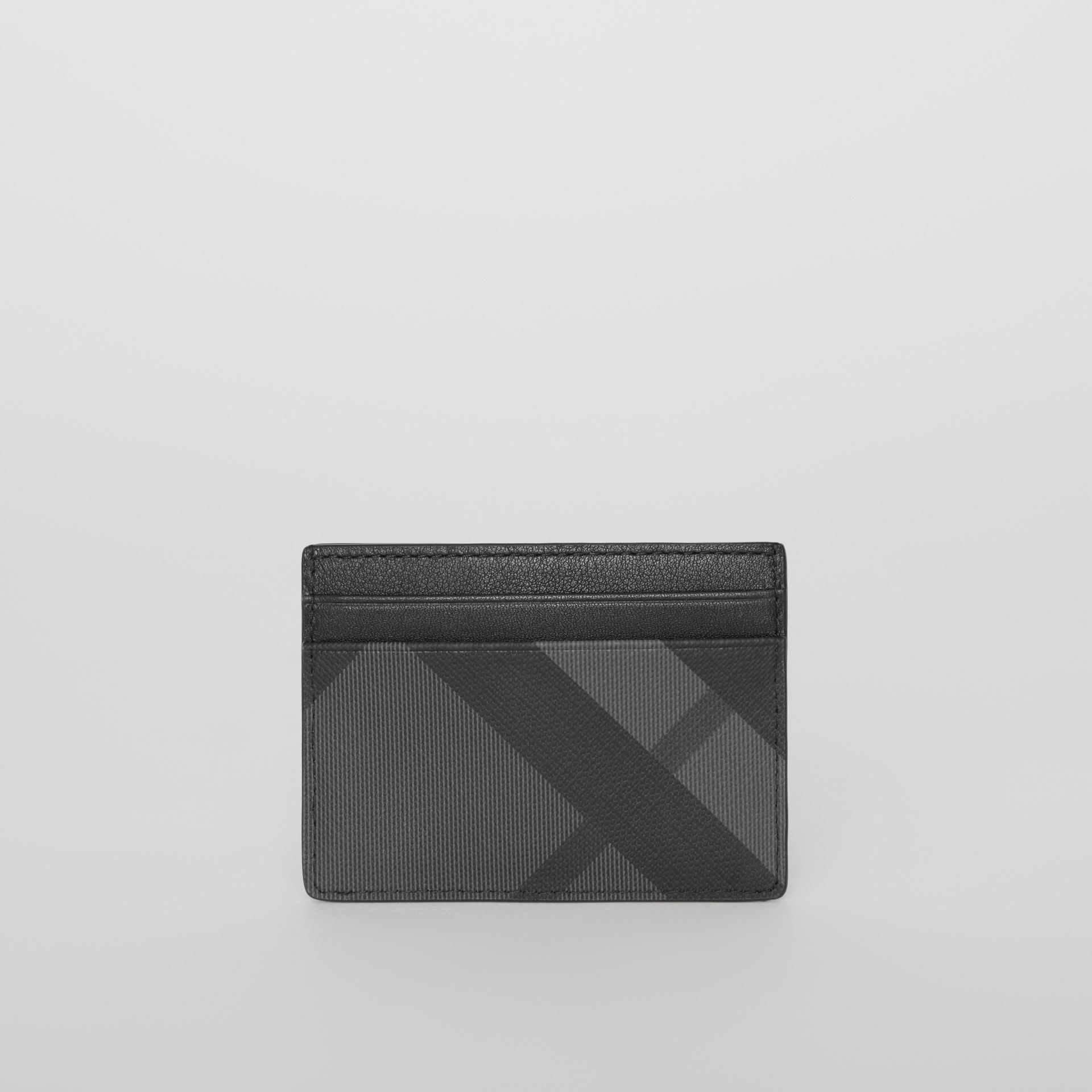 EKD London Check and Leather Card Case in Charcoal/black - Men | Burberry Singapore - gallery image 4