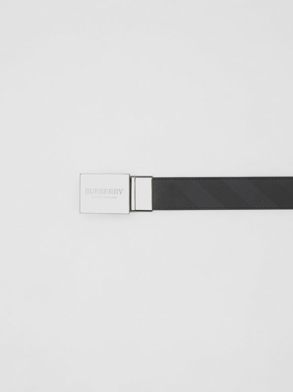 Reversible Plaque Buckle London Check Belt in Dark Charcoal/black - Men | Burberry - cell image 1