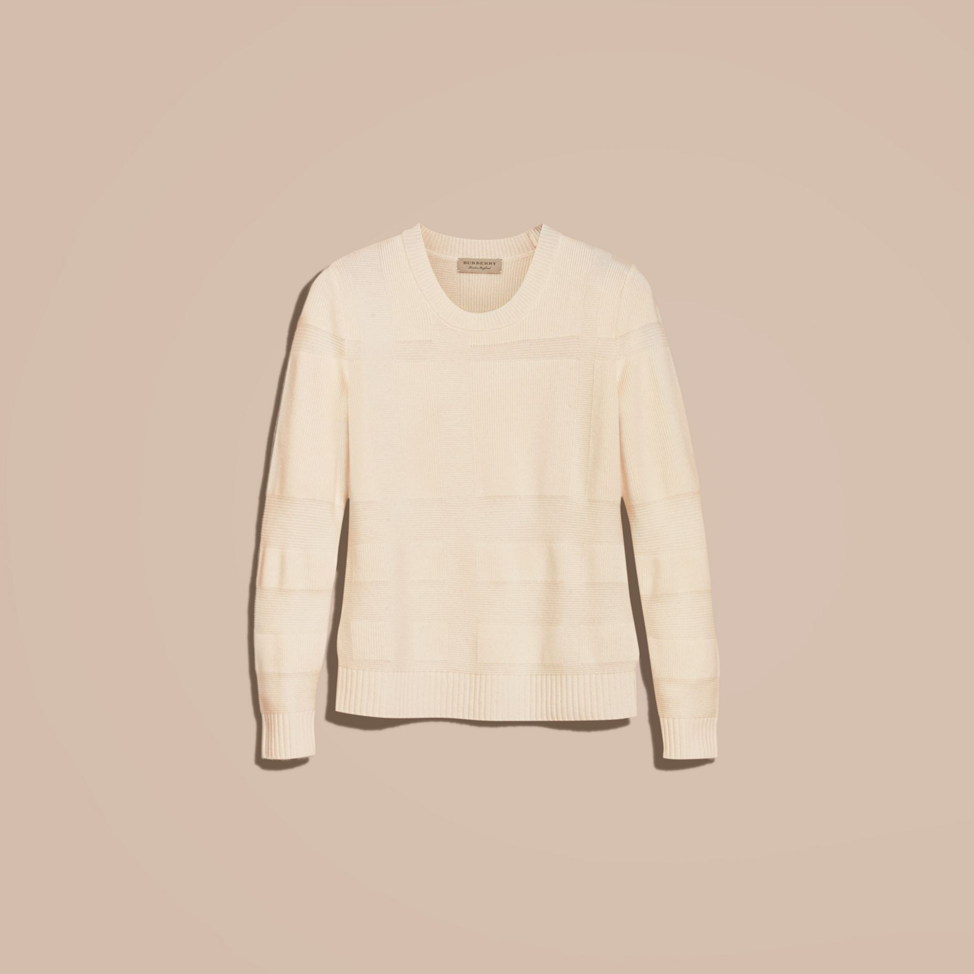 Check-knit Wool Cashmere Sweater Natural White - gallery image 4