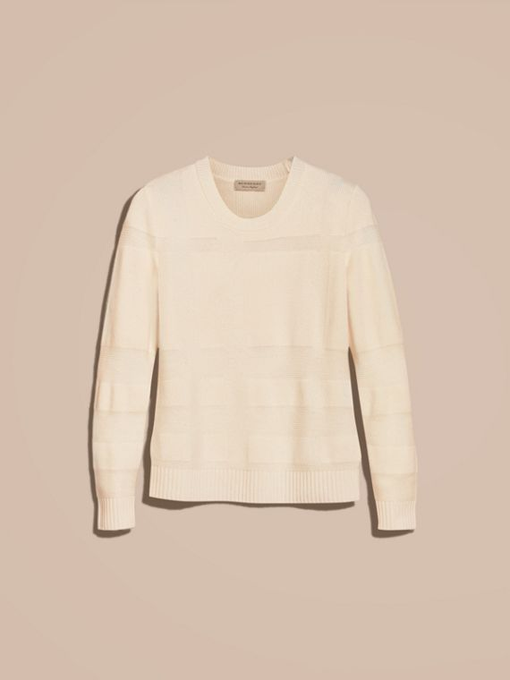 Natural white Check-knit Wool Cashmere Sweater Natural White - cell image 3