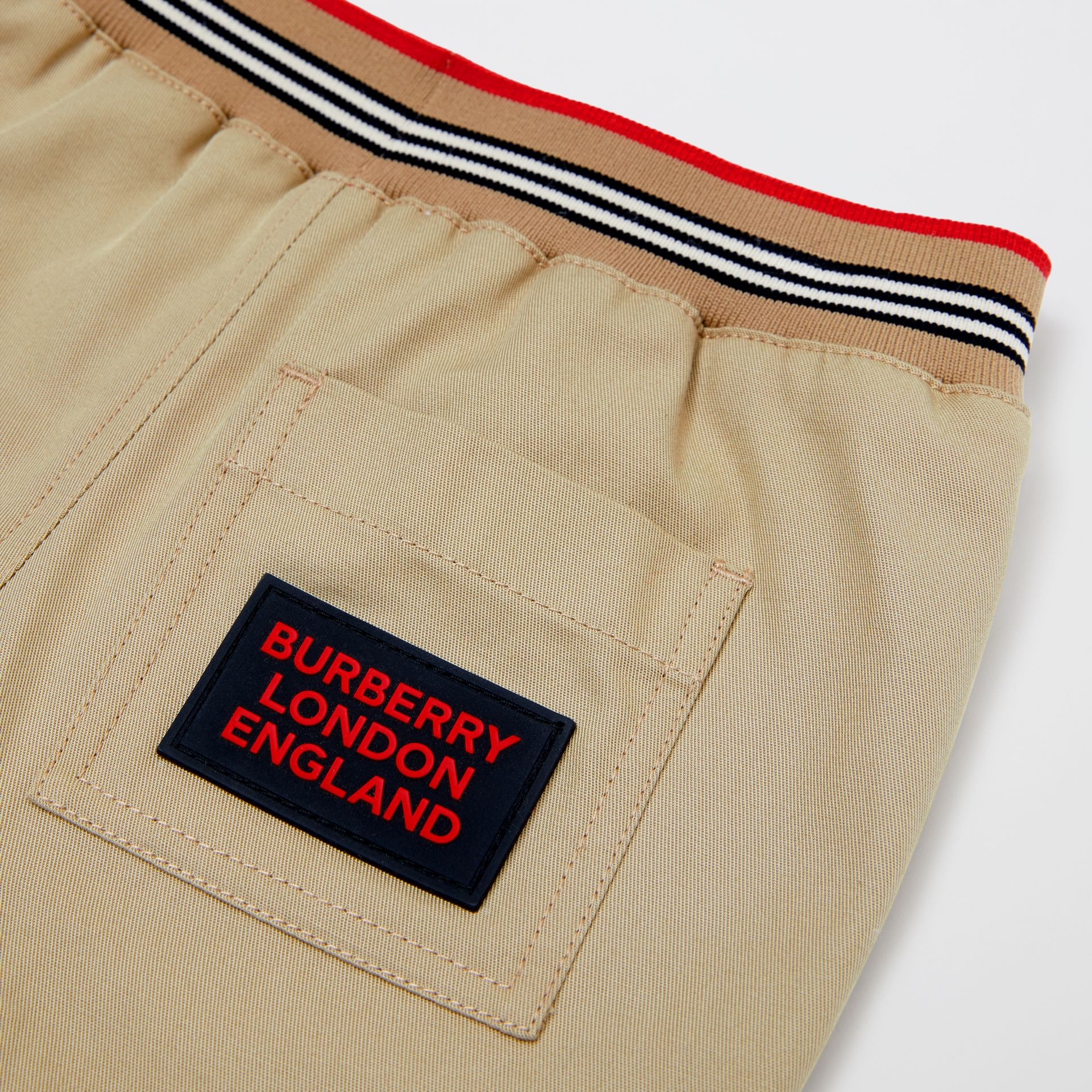 Icon Stripe Detail Cotton Twill Drawcord Trousers in Honey - Children | Burberry United Kingdom - gallery image 1