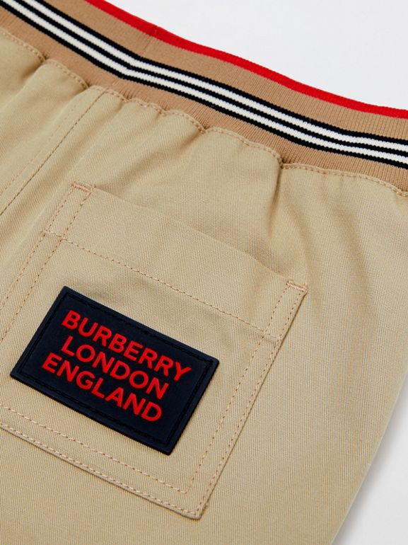 Icon Stripe Detail Cotton Twill Drawcord Trousers in Honey - Children | Burberry United Kingdom - cell image 1