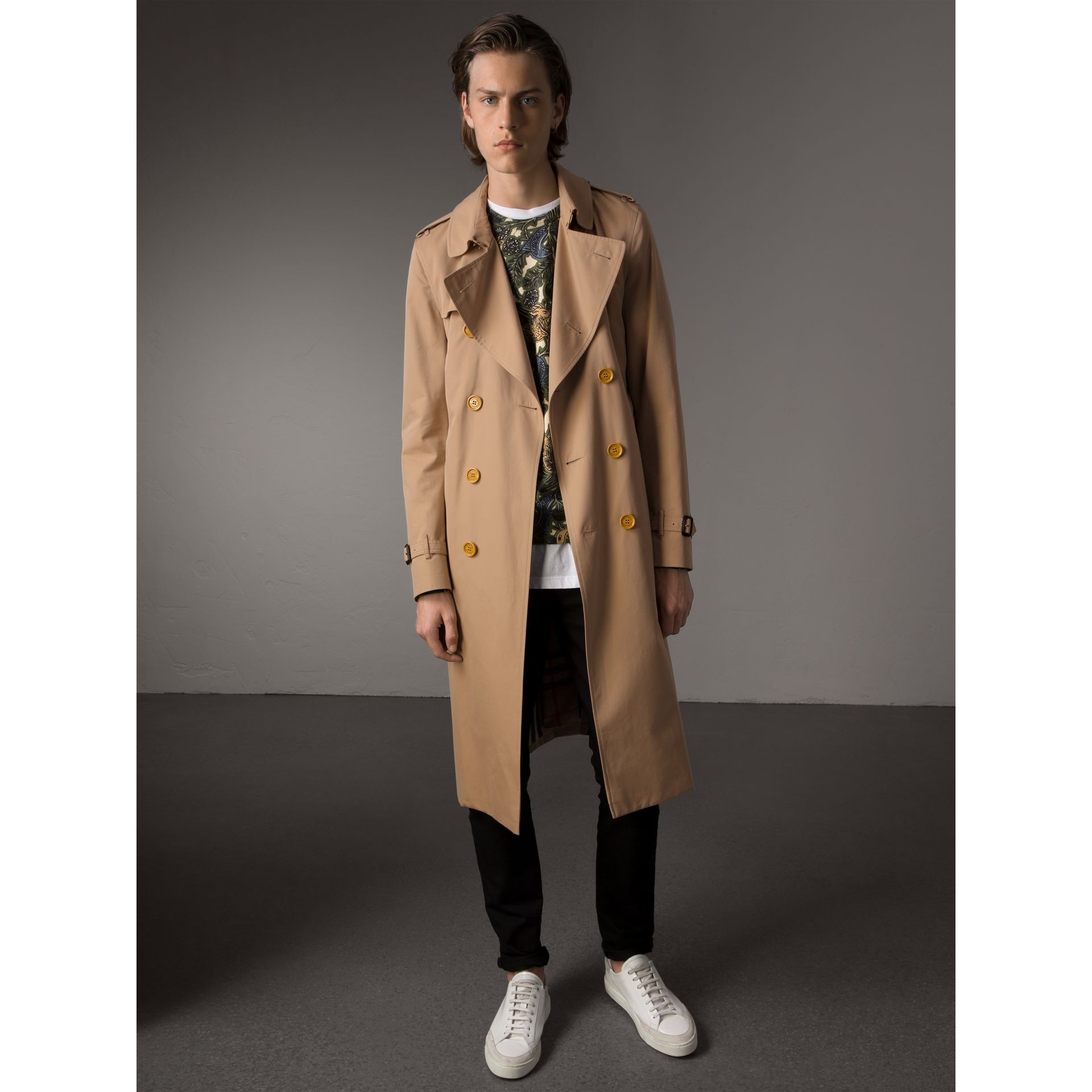 Extra-long Resin Button Cotton Gabardine Trench Coat in Honey - Men | Burberry United Kingdom - gallery image 1